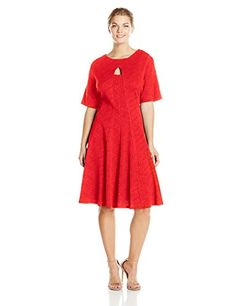 Julian Taylor Women's Plus-Size Elbow Sleeve Flare Dress Plus, Flame
