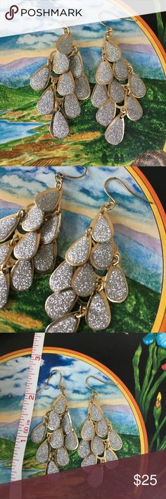 "Gorgeous Sparkling Silver & Gold earrings Absolute show stoppers!  In EUC.  Silver Glitter Tear drops cascading down approximately 3"" with gold backings. Jewelry Earrings"