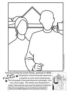 20 unique activities your kids will love. Grant Wood, American Gothic, art and classroom sub lessons. Grant Wood American Gothic, American Gothic Parody, Art Sub Plans, Art Lesson Plans, Art Handouts, Art Grants, Art Worksheets, Wood Painting Art, Wood Art
