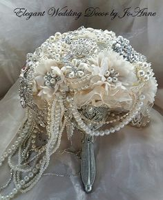 Vintage Style Ivory Cascading Jeweled Bouquet- DEPOSIT for an Elegant Ivory Cascading Brooch Bouquet, Ivory Wedding Bouquet, full price 565