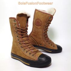 bf6790c553de Converse Womens All Star Leather Trainers Brown sz 3 Girls X HI Boots EU 35  US