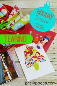 Christmas Fine Motor Skills: Tearing Wrapping Paper Make learning fun with a hands-on Christmas theme fine motor station to develop scissor skills!