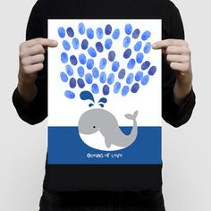 whale guest book fingerprint baby shower or birthday