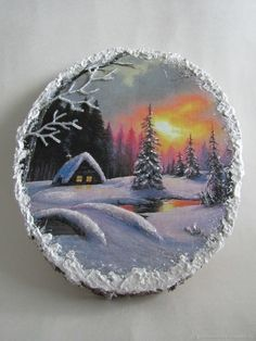 Wood Painting Art, Tole Painting, Painting & Drawing, Pintura Tole, Christmas Paintings On Canvas, Wood Burning Art, Painted Ornaments, Picture On Wood, Pebble Art