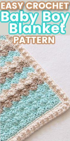 Crochet For Boys, Crochet Baby Hats, Easy Crochet, Baby Knitting, Booties Crochet, Crochet Summer, Crochet Blankets, Crochet Baby Blanket Free Pattern, Crochet For Beginners Blanket