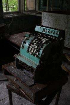 Old Vintage Typewriter Pripyat, Ukraine. CLB- looks like a cash register to me.