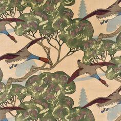 Mulberry FLYING DUCKS VELVET CAMEL Fabric