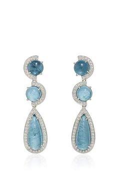 One of a kind white gold diamond and aquamarine earrings by DANA REBECCA DESIGNS for Preorder on Moda Operandi
