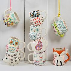 Make your mornings happier with our fun Folk Art Mugs! Perfect for a nice cup of coffee or tea!