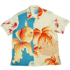 This Shirts is used many gold fish - Weird Shirts - Ideas of Weird Shirts - Gold fish crazy pattern Kimono Aloha Shirts. This Shirts is used many gold fish pattern. Boys Hawaiian Shirt, Vintage Hawaiian Shirts, Aloha Shirt, Custom T Shirt Printing, Printed Shirts, Custom Shirts, Funky Shirts, Bowling Outfit, Hipster Gifts