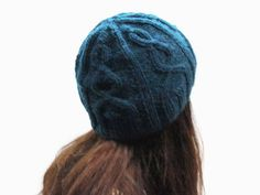 Deep ocean blue knit cable hat for women/ alpaca gray knit hat/ winter women hat/ Christmas gift hat/ custom color hat/ gray knit beanie hat by PepperFashion on Etsy