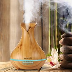 400ml Aroma Essential Oil Diffuser Ultrasonic Air Humidifier Wood Grain 7 Color Changing LED Lights