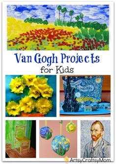 Vincent Van Gogh Projects for Kids – 10 Inspiring Ideas to try with your kids, celebrateing 'Inspire your Heart with Art Day' [ Featuring starry night, sunflowers, art craft. Ar tAppreciation for kids Preschool Art Projects, Easy Art Projects, Art Activities, Projects For Kids, Art Lessons For Kids, Art For Kids, Paint Night For Kids, Art Children, Vincent Van Gogh