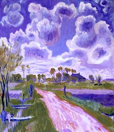 Landschap in Groningen met sloot. Dutch Jan Altink (1885-1971) is primarily known as a landscape artist. His characteristic landscapes with high horizons and roads or waterways disappearing into the distance are almost prescriptive of the expressionistic way in which the artists of De Ploeg elevated the Groningen countryside to an idealized theme. His use of complementary colors such as purple and green contributed to the originality of his visual language.