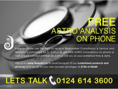 FREE Astro Analysis on Phone!  CALL US at 0124 614 3600 or REGISTER at www.teleastro.in