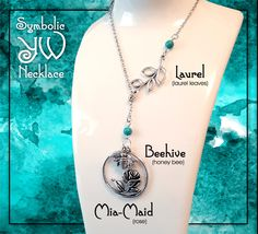 Symbolic YW Necklace for LDS Young Women. Charms representing Laurel, Mia Maid, and Beehive Classes Silver with Turquoise Beads Jewelry Gift by templesquares on Etsy