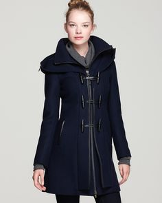 Mackage Steffy Flat Wool Coat with Toggle and Zip Off Hood | Bloomingdale's