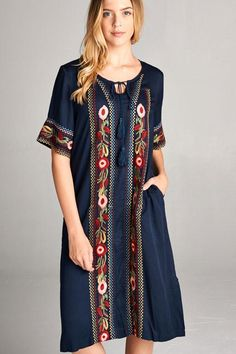 Camila Navy Embroidered Dress in Navy