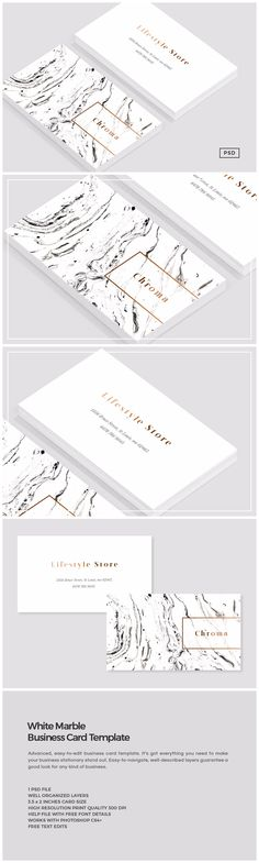 White Marble + Copper Business Card by The Design Label on @creativemarket