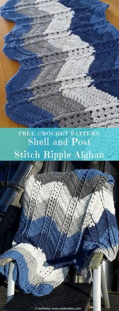#ShellStitch #RippleAfghan #FreeCrochet Pattern #Crochet Blanket Throw | size: 53.25"