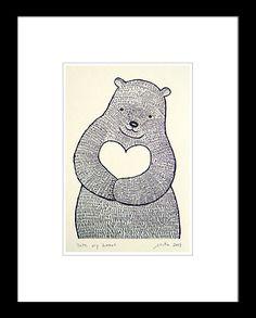 Bear Heart Print of Original Ink Drawing Woodland Illustration Love Ivory MiKa 4x6 Wall Decor