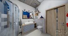 łazienka idealna dla najmłodszych, łazienka w stylu morskim, granat, szarość, biel, duża umywalka, prysznic, wanna, samolot, jasne kolory, łazienka z klimatem .... Projektowanie wnętrz 4-style.pl