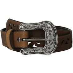 Ariat Scroll Paisley Pierced Belt Women's Belts ($49) ❤ liked on Polyvore featuring accessories, belts, belt, buckle belt, floral belt, ariat and leather belt