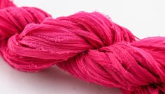 Georgette Ribbon Hot Pink Reclaimed Silk from DGY