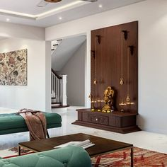 A space to sit back, close your eyes and forget all the chaos for a while. We love this beautiful Pooja space that also doubles as a decorative display unit. Temple Room, Home Temple, Temple Design For Home, Mandir Design, Pooja Room Door Design, Foyer Design, Puja Room, Indian Living Rooms, Indian Home Decor