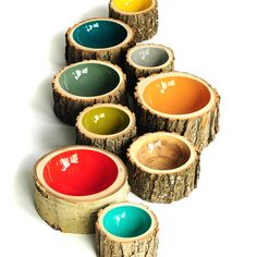 love the colors - log bowls