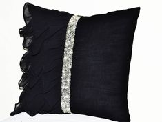 Elegant Black ruffled sequin throw pillow  16X16  by AmoreBeaute