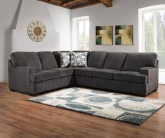 Lane Home Solutions Kasan Gray Sectional - Big Lots Lane Home Solutions Kasan Gray Living Room Secti Large Sectional Sofa, Living Room Sectional, Living Room Grey, Living Room Sets, Rugs In Living Room, Living Room Furniture, Bar Furniture, Leather Furniture, Room Rugs