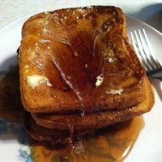 Pumpkin Pie French Toast 2 Eggs / 1/4 c Milk / 1/4 c pumpkin puree / 1/4 t Vanilla / 1/2 t Cinnamon / 1/4 t Ginger / 1/8 t Cloves / 1/8 t Nutmeg / 2T Brown sugar / 8 slices Bread