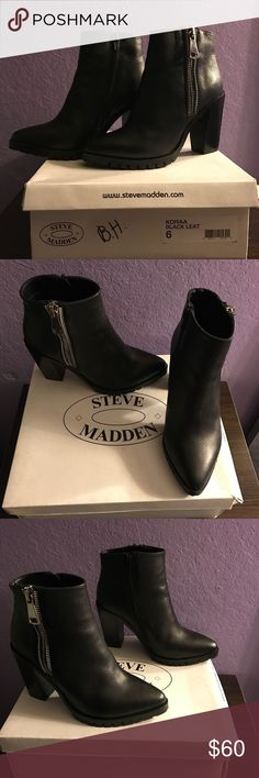 6548369aa2 Steve Madden heel boots Steve Madden KORAA black leather boots. Silver  zipper on outer side