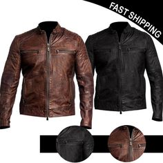 Mens Vintage Biker Motorcycle Distressed Brown Cafe Racer Genuine Leather Jacket | Clothing, Shoes & Accessories, Men's Clothing, Coats & Jackets | eBay!