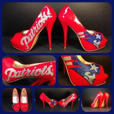 New England patriots glitter red peep toe heels size 9