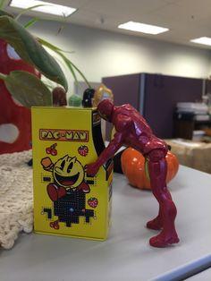Iron Man playing PAC MAN