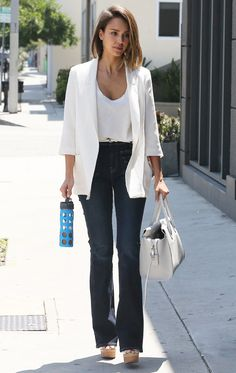 Celebrity Street Style - Jessica Alba Combines Two Of Summer's Biggest Trends Into The Perfect Outfit