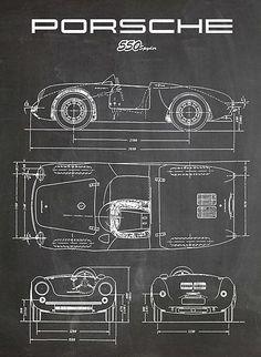 Porsche 550 Spyder Poster Chalkboard x Porsche 550 Spyder, Porsche 356 Speedster, Porsche Boxster, Porsche Cars, Ferdinand Porsche, Vintage Porsche, Car Design Sketch, Cabriolet, Futuristic Cars