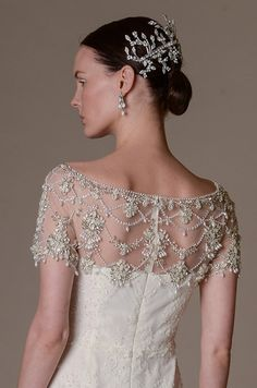 This wedding dress from Marchesa Spring 2016 bridal collection features stunning beading detail.