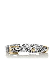 Tory Burch Lizard Dog Collar provides pups with a touch of polish and makes a stylish statement on daily walks. Sturdy and chic, it's made of embossed leather and is finished with our signature gold-metal logo.