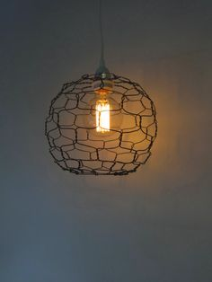 Wire  Pendant Lamp Sphere by CharestStudios on Etsy