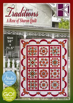 """The Rose of Sharon quilt collection contains all 12 Rose of Sharon blocks, plus the Swag border designs Fabric Requirements for the Quilt are included and instructions for completing the quilt. Finished size of quilt is 58"""" x 71.5"""" The roses and leaves are appiqued and embroidered. All of the roses can be sewn in the 5x7"""" hoop; designs are also combined for the larger hoops.  Our Rose of Sharon quilt is designed for the Accuquilt GO! Cutter and Studio Cutter dies."""