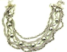 Vintage Coro Necklace 5 Strand Silver Tone by imagiLena on Etsy
