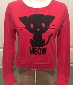 """Forever 21 Cute Cat  Kitty """"Meow"""" Cropped Sweatshirt Light Pink/Black Small  #FOREVER21 #SweatshirtCrew"""