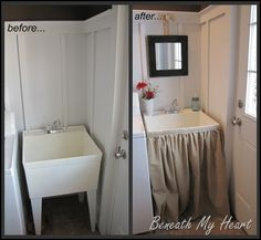 Need to do this.  http://theinspiredroom.net/diy/make-a-laundry-tub-sink-skirt/