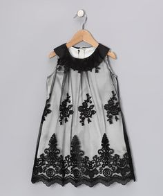 Take a look at this Sweet Kids Black Lace Yoke Dress - Girls by Sweet Kids on #zulily today!