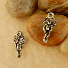 2 Vintage Pewter 3D Angel, cherub pendant, charm