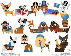 Pirate dogs Digital clip art for Personal and por Giftseasonstore