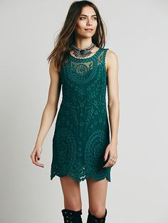 Free People Embroidered Net Shift Dress at Free People Clothing Boutique